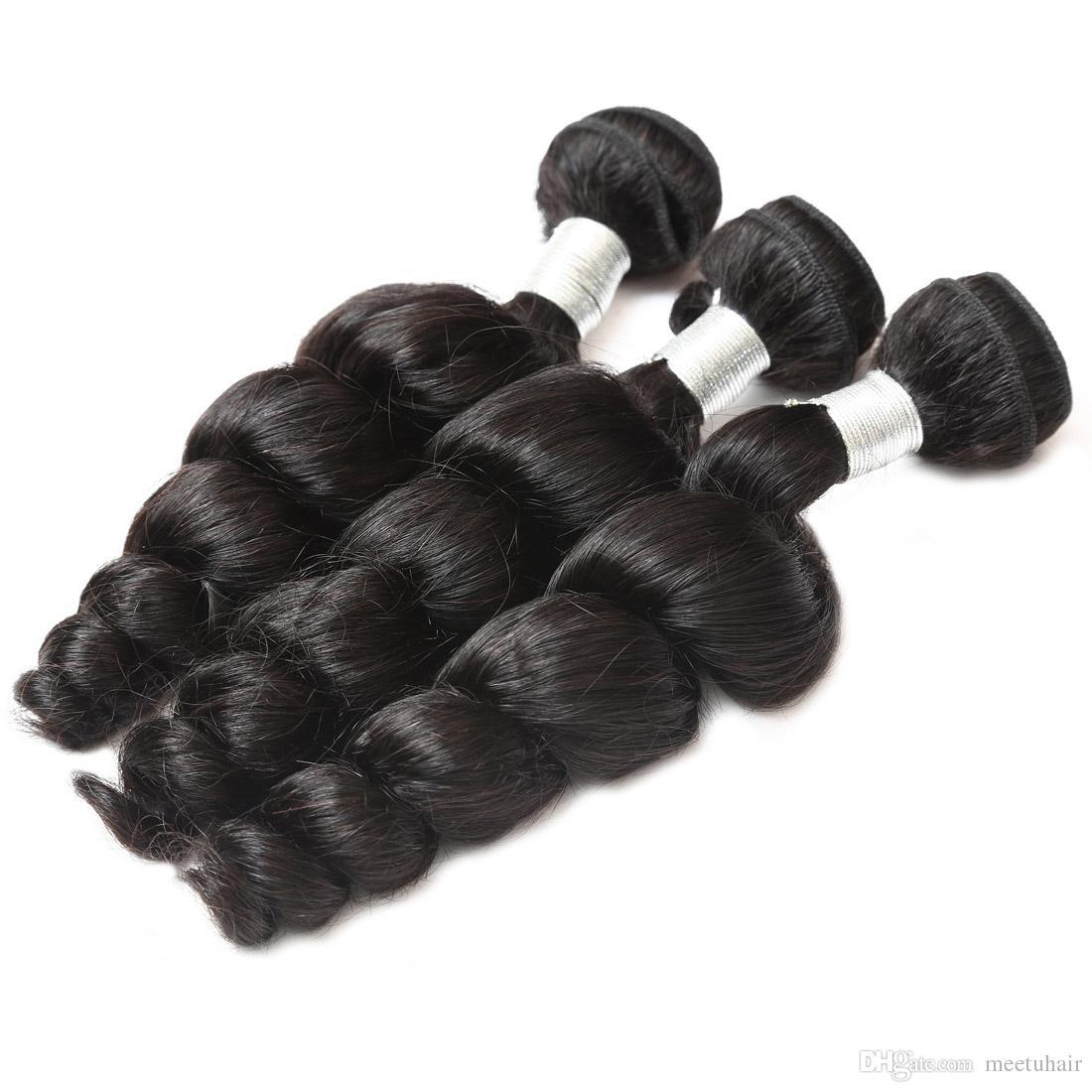 공장 가격 상위 12A 품질 스트레이트 바디 느슨한 깊은 곱슬 물 파도 원시 인간의 머리 3Bundles 8-30inch 브라질 페루 말레이시아 머리카락