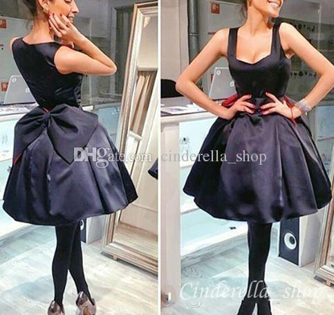 2018 Black Short Ball Gown Prom Dresses Knee Length Scoop Sleeveless Big Bow Satin Evening Party Gowns Cheap Customized