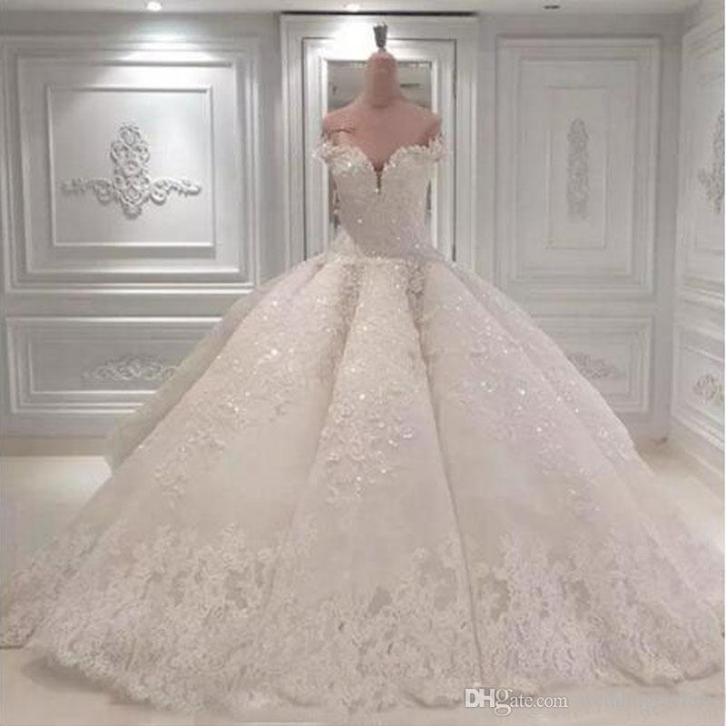 Luxury 2018 Lace Ball Gown Wedding Dresses Sweetheart Off Shoulder ...