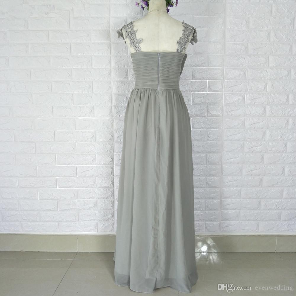 애송이 2019 층 길이 웨딩 파티 드레스와 애인 박힌 긴 쉬폰 신부 들러리 드레스