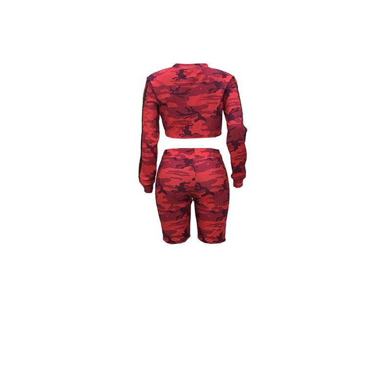 Camo printed ribbon long sleeve T-shirt crop top + pencil pants Yoga Fitness Set two-piece set fashion short sets elastic waist Jogging suit