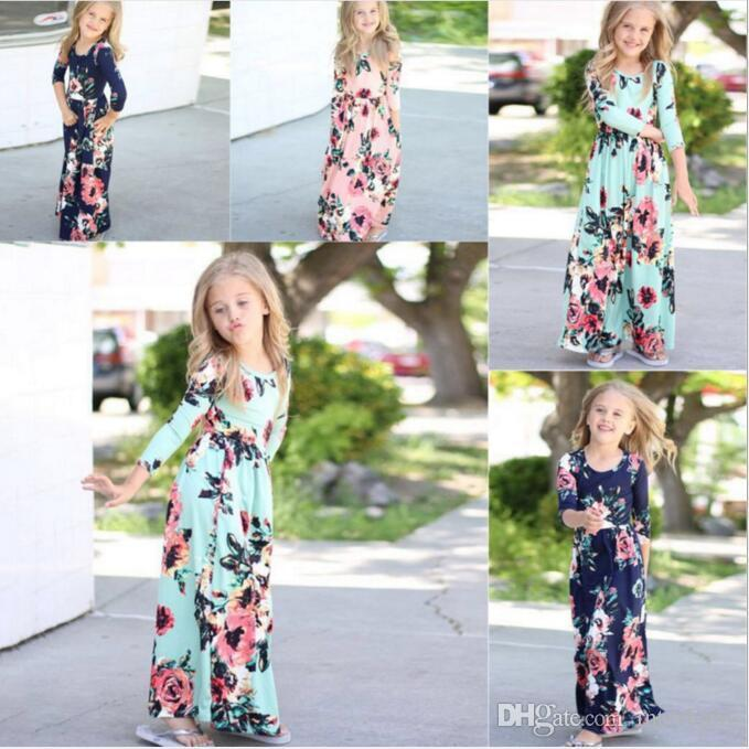 8fb1be30e1519 2019 Girls Dresses Baby Boho Maxi Dress Kids Floral Long Princess Dress  Toddler Long Sleeve Summer Beach Dresses Casual Kids Party Dresses YFA12  From ...