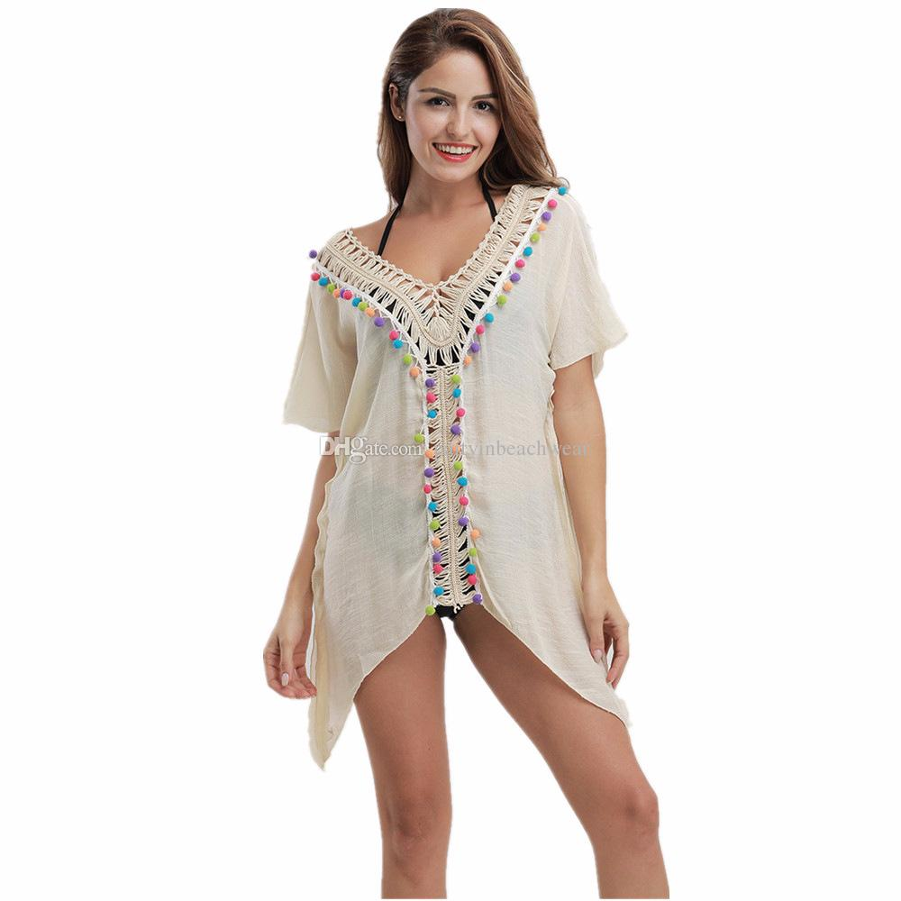 72f1f725d7 2019 Bikini Beach Cover Ups Swimwear Pompon V Neck Tassel Dresses Women  Sexy Summer Crochet Blouses Sunscreen Holiday Seaside Swimsuit Shirt New  From ...