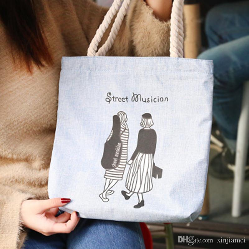 2019 Mode Haute Qualité Toile Fourre-Tout Sac Femmes Sacs À Main Filles Casual Sacs À Bandoulière Étudiants Protection De L'environnement Shopping Sac