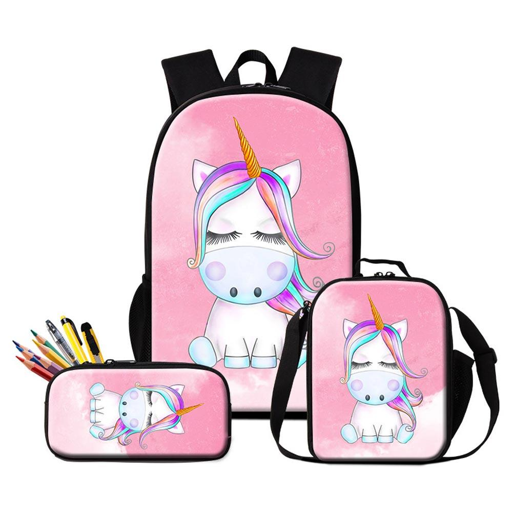 Customize Your Own Design Logo Backpacks Pencil Case Lunch Bags Set For Primary  Students Children Lovely Unicorn Bookbag Girl Rucksack School Bags For Girls  ... c35fc769202e2