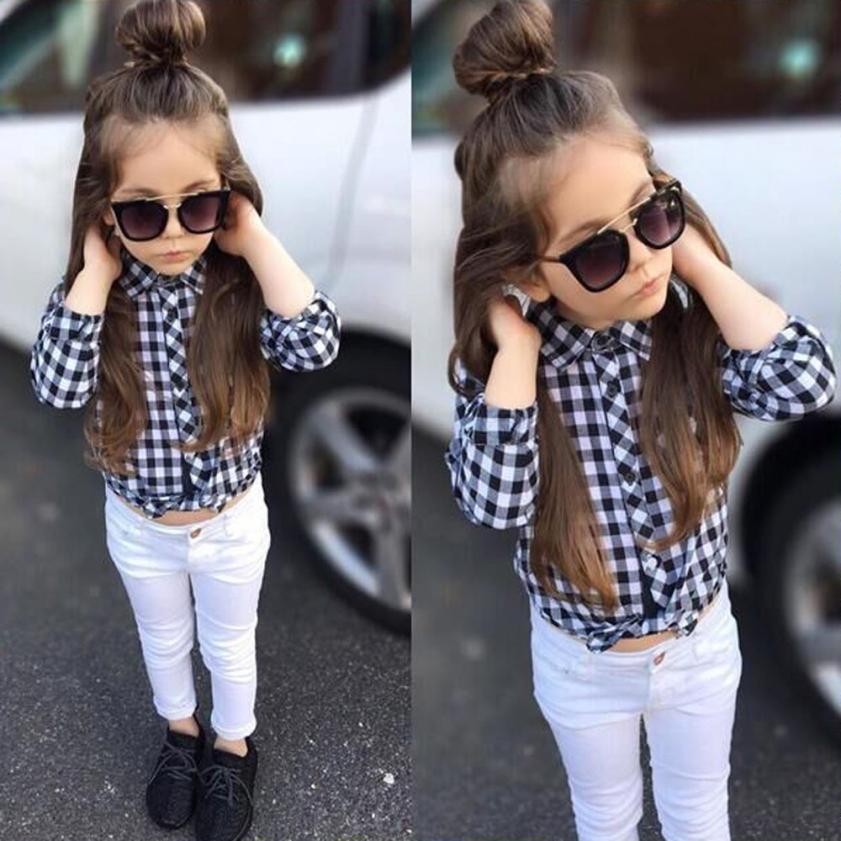 fc818a136 2pcs chicas de moda ropa niño niños bebé niña cuadros tapas pantalones de  demodulación trajes ropa conjunto 2018 otoño roupas infantis menina