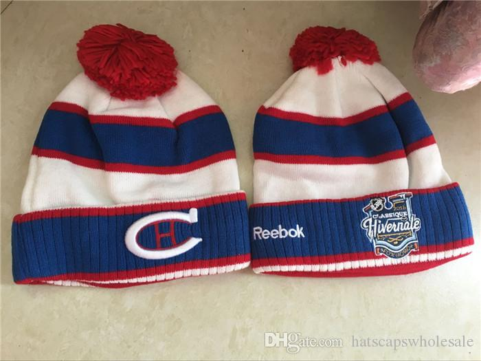 4f6739b09d291f Hotsale Top Quality Montreal Embroidered Team Logo Sport Ice Hockey Vintage  Canadiens Knitted Beanies Women's Winter Warm Skull Hats