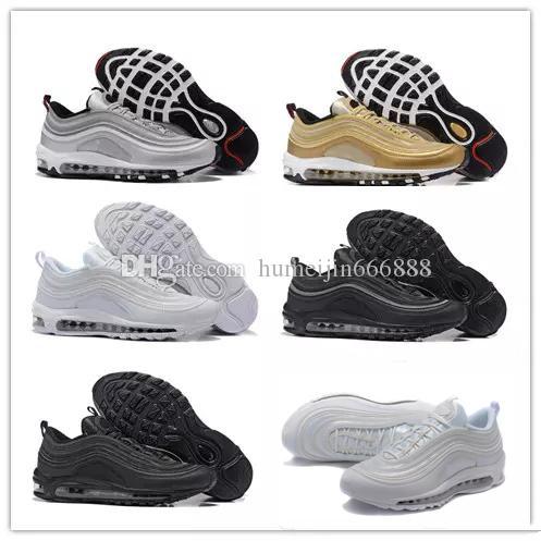 best sneakers 525ed 8b37e Großhandel Nike Air Max Airmax 97 Schuhe Triple Weiß Schwarz Laufschuhe Og  Metallic Gold Silber Bullet Herren Turnschuhe Damen Sportschuhe Sneaker  Größe 36 ...