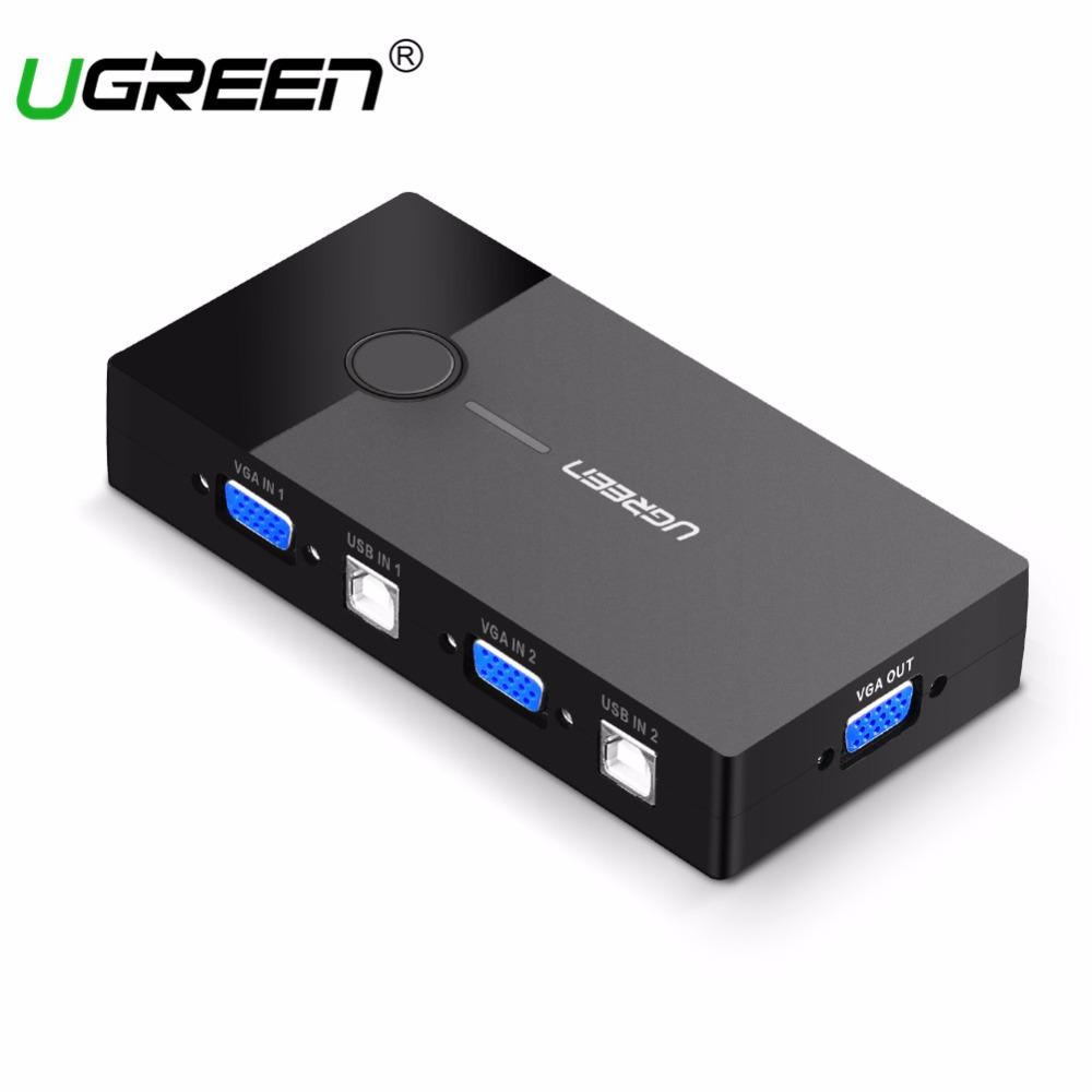 2018 Ugreen Kvm Usb Switch Vga Splitter 2 Port Sharing Switcher Selector For Printer Keyboard Mouse Monitor To From Flagship
