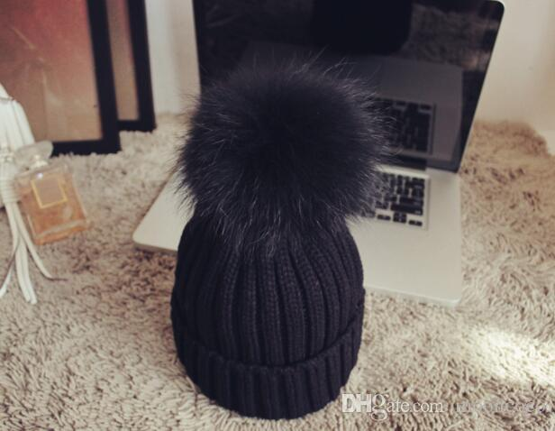 winter hat 2018 fashion knitted black hats Fall Hat Thick and warm and Bonnet Skullies Beanie Soft Knitted Beanies Cotton