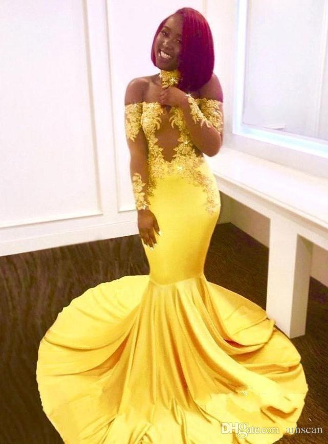 5f6321e0398 Sexy Off The Shoulder Mermaid Prom Dresses 2019 Yellow Long Sleeves Lace  Evening Dresses Formal Appliques Satin Arabic Party Gowns Plus Size Short Lace  Prom ...