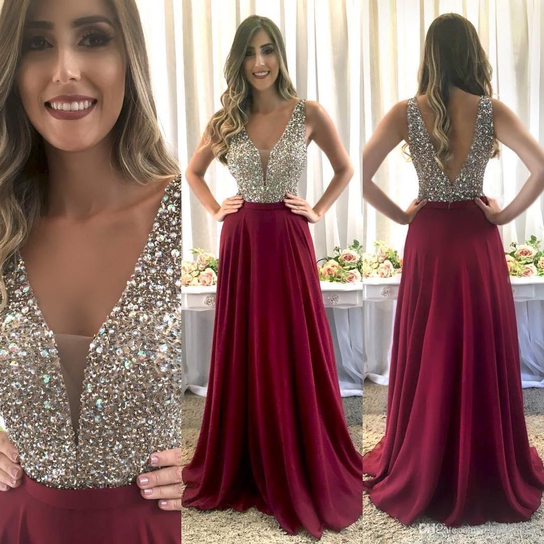 09fda638 Burgundy Long Formal Prom Dress 2019 Elegant V Neck Sleeveless Sparkly  Crystals Beaded Bodice A Line Floor Length Chiffon Evening Gowns Aidan  Mattox Prom ...