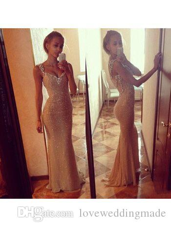 2017 Bling Gold Prom Dresses With Long Sleeves Sweetheart Bodycon Evening Gowns Mermaid Cheap Formal Party Dress Hot Sale
