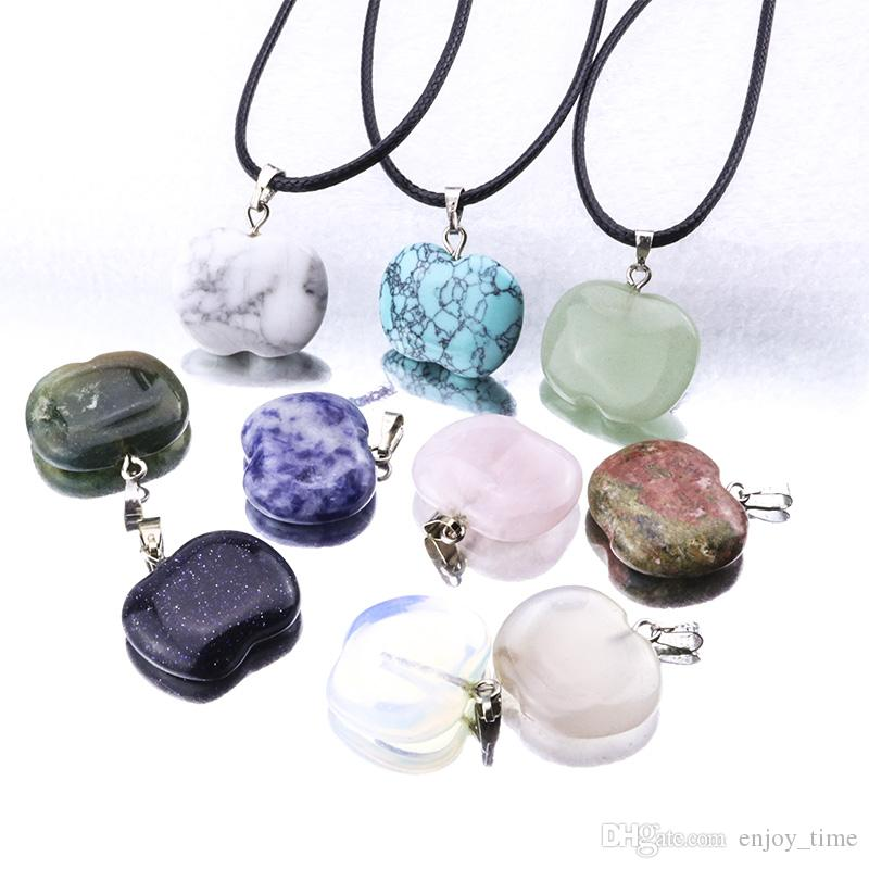 Natural Stone Apple Gemstone Pendant Necklace Crystal Healing Chakra Reiki Silver Stone Necklace