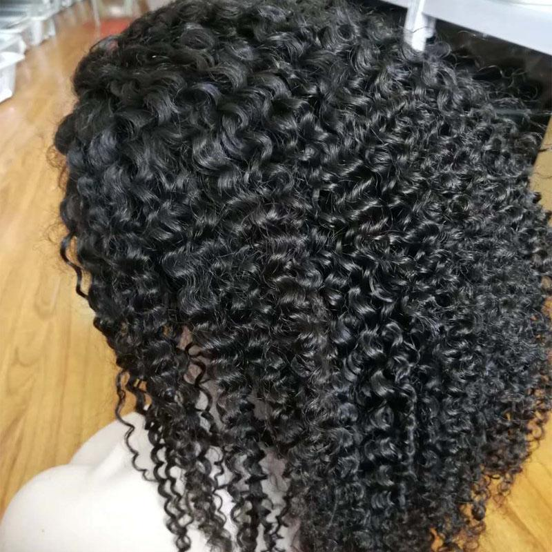 150% High Density Kinky Curly Full Lace Human Hair Wigs For Black Women Cheap Indian Virgin Hair Glueless Lace Front Wigs Baby Hair
