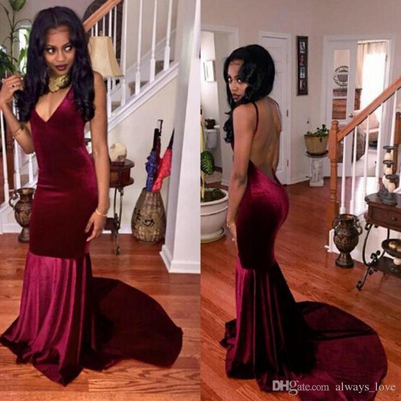 429091a9504 Wine Red Velvet Evening Dress V Neck Backless Long Gowns Prom Party Dress  Formal Event Gown Plus Size Vestido De Festa Longo Discount Evening Dresses  Online ...