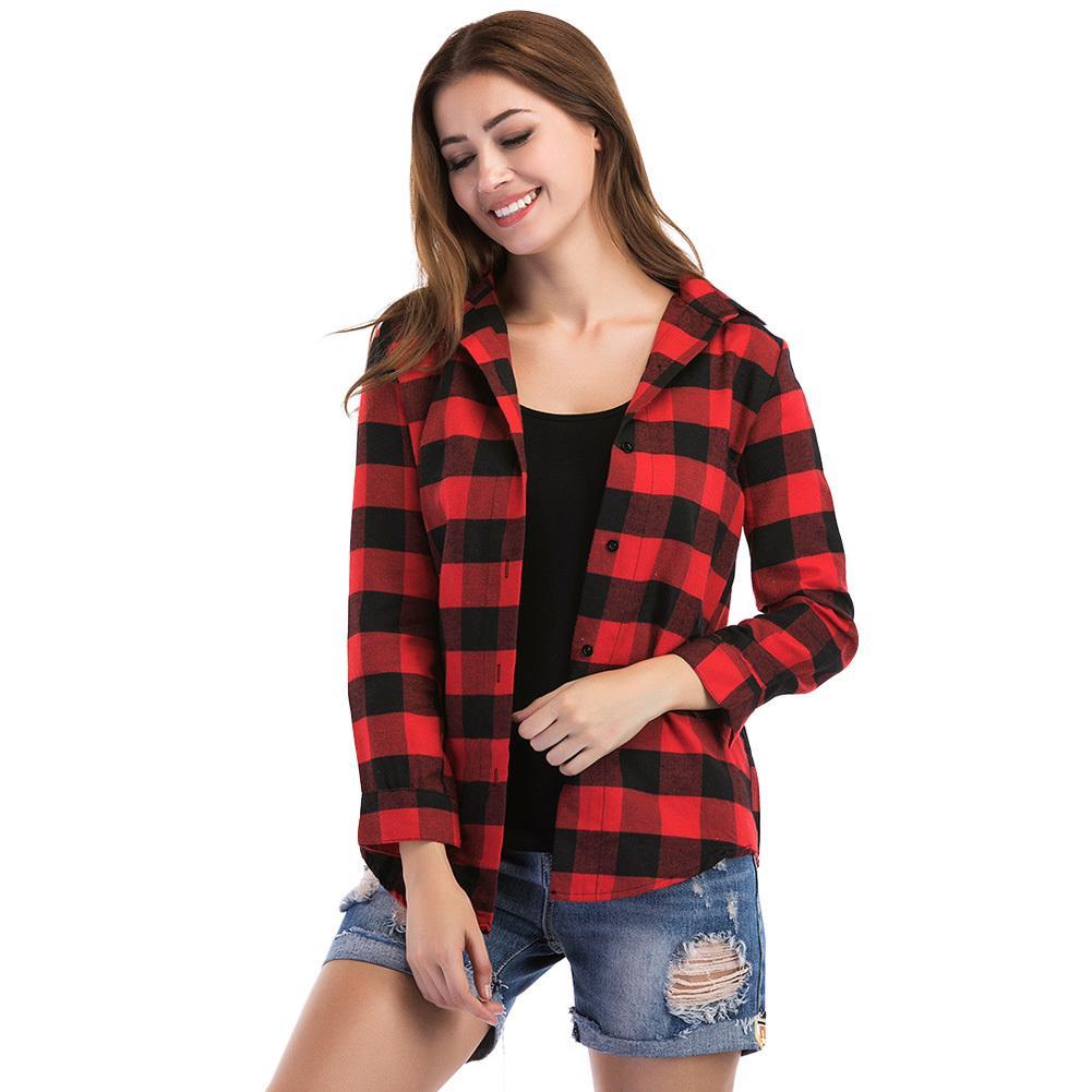 6acab432ed Compre 2019 Outono Mulheres Blusa Xadrez Camisa Botão Camisas De Manga  Longa Feminino Irregular Casual Cheque Blusa Tops Preto   Vermelho Básico  Outwear De ...