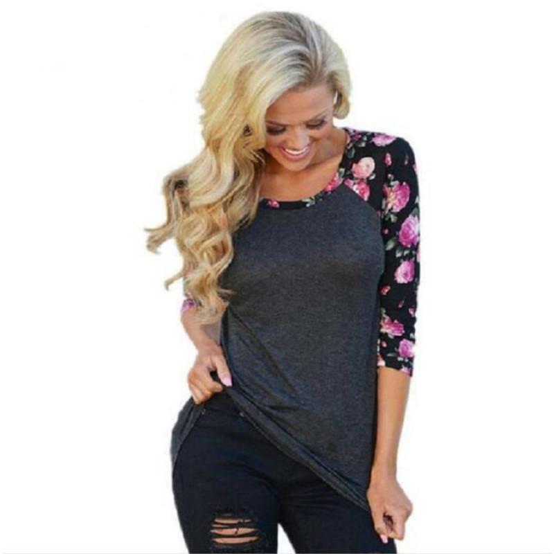 6221948b7590 Vintage Floral Printed Women T Shirts Three Quarter Sleeve O Neck Casual  Basic T Shirt Lady Tees T Shirt Women Tops T Shirts Buy Shirt T From  Fafachai05, ...