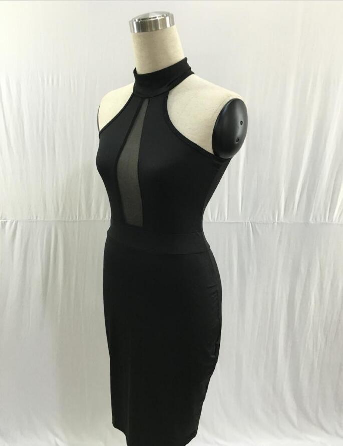 Verano sin mangas Midi Bodycon vestido Backless Sexy Women Dress Club Wear elegantes vestidos de fiesta de malla negro S-XLFree envío