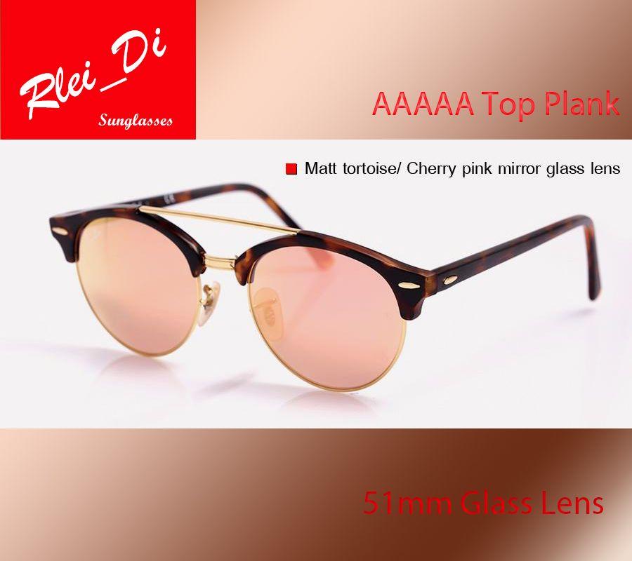 c965b389c2 Top Quality Round Half Frame Glass Lens Sunglasses Womens Mens Sunglasses  Retro Hinge Eyewear Leopard 51MM Circle Plank Shade SunGlass Case Sunglasses  For ...