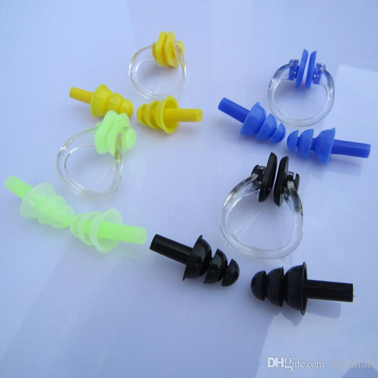 Waterproof Soft Silicone Swimming gear nose clip earplugs set anti-hydration equipment earplugs stuffy nose free shipping