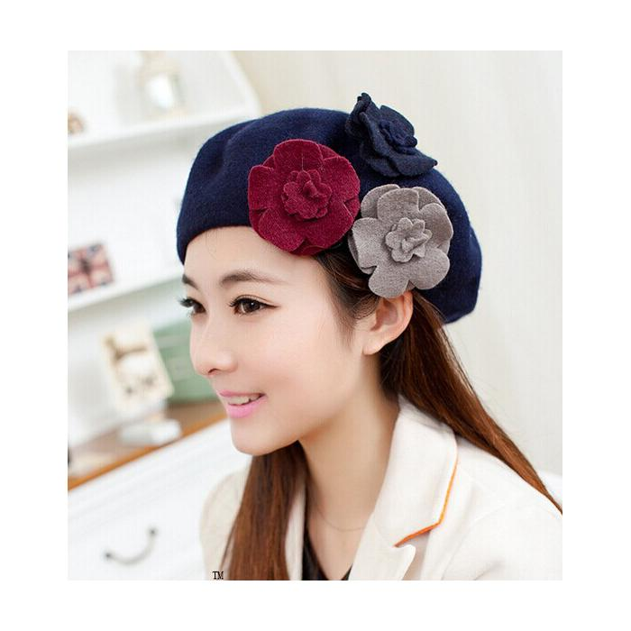 2d6b7f973d7 2019 Fashion Beret Hat Female Beanie With Three Pieces Flowers Winter Wool  Cap For Ladies Hot Sale Clothing Set From Handofart