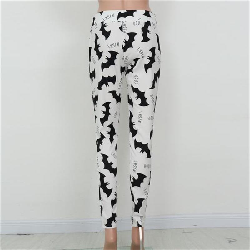 Women Printing Leggings Bats Print Soft cotton Slim long pants Elastic waist band Trend Lady black white casual indoor Gym Fitness Party