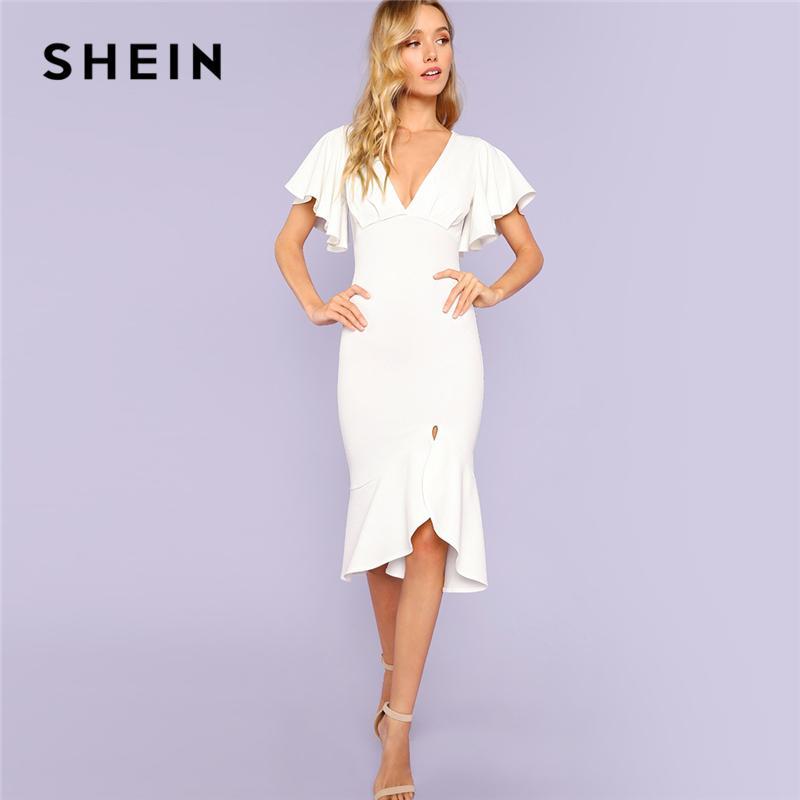 95e6a2e13 SHEIN White Party Elegant Sexy Backless Form Fitting Slit Ruffle Hem Double Deep  V Neck Flounce Sleeve Dress Summer Women Dress Summer White Maxi Dress ...