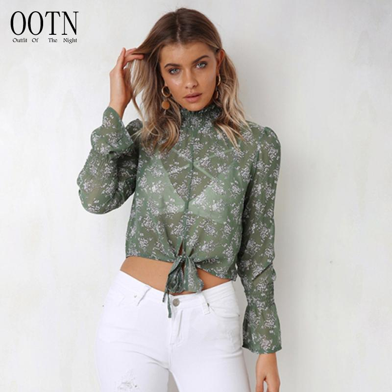 OOTN Ruffled Neck Flare Sleeve Long Sleeve Leopard Print Floral Chiffon  Blouse Women 2018 Autumn Winter Fashion Casual Bow Shirt UK 2019 From  Xiayuhe 0477e36d1