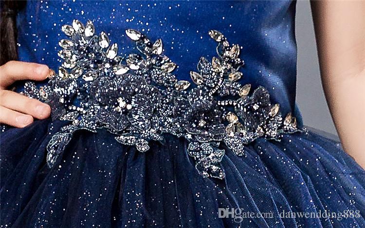 Beauty Navy Blue Sweetheart Tulle Flower Girl Dresses Princess Dresses Girl's Pageant Dresses Custom Made Size 2-6 8 10 12 14 KF314003