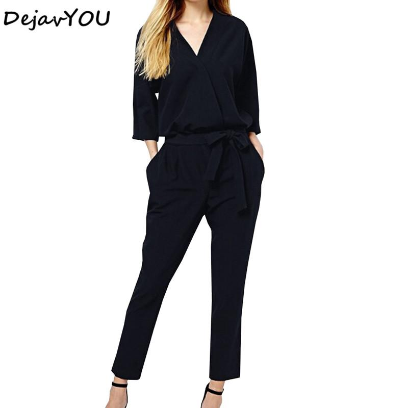 3b8bbec2d32 2019 Autumn V Neck Long Sleeves Elegant Jumpsuits Womens 2018 Europe Street  Classical Formal Full Length Loose Ladies Work Dungarees From Cutelove66