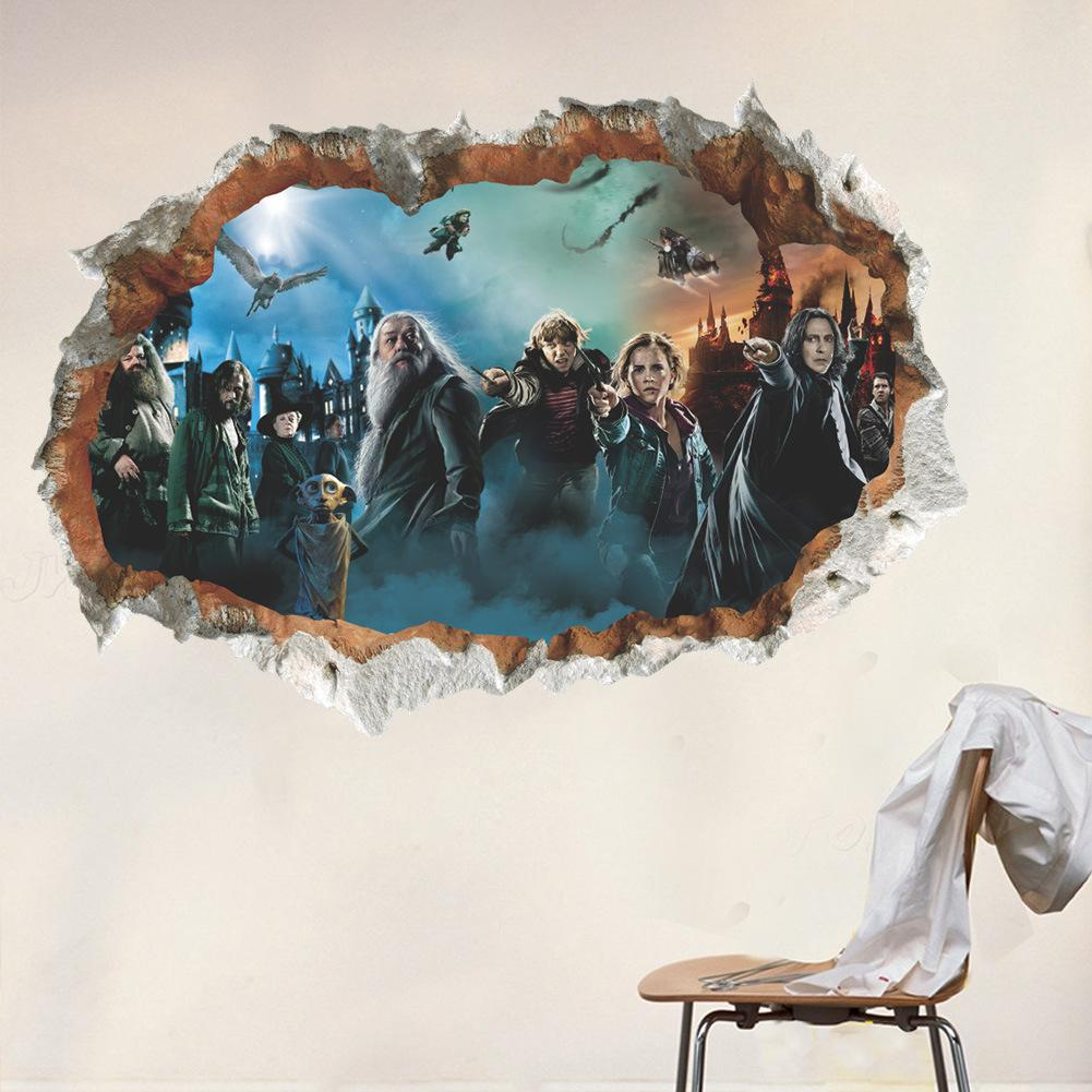 Harry Potter 3d Wall Sticker Murals Pvc Creative Broken Wall Art Decals Kids Room Wall Decor Removable