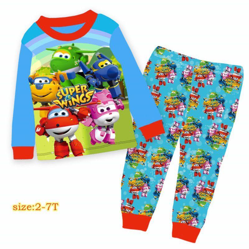 e4184686aa Wholesale Boys Blue Super Wings Pajamas Sets 2018 Kids Cartoon Clothes  Children Spring Pyjamas Sets For 2 7Y 9561 Kids Pajama Sets Girls Pajama  From Jeanyme ...