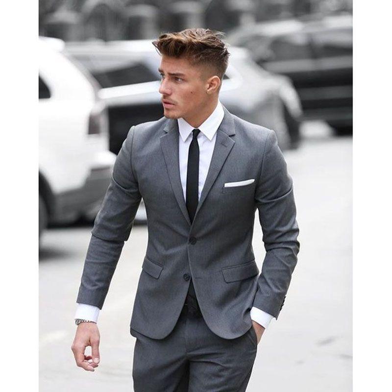 2019 2017 Latest Coat Pant Designs Grey Men Suit Formal Skinny