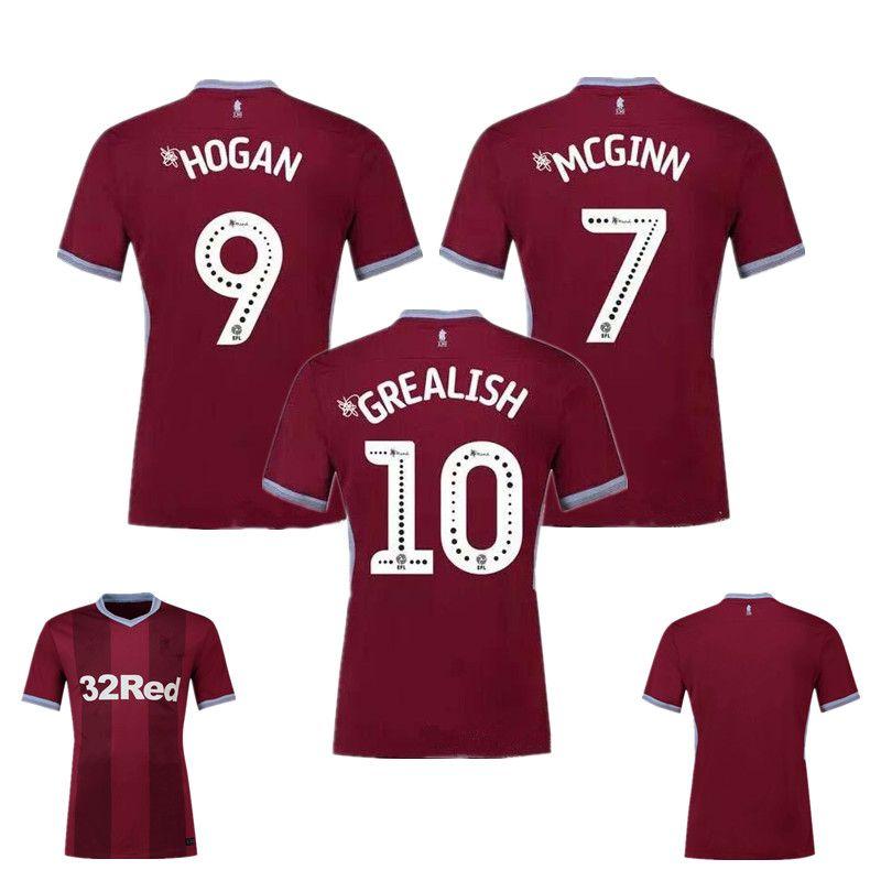 Compre 2018 2019 Aston Villa Club Home Camisa 2018 19 7 MCGINN 9 HOGAN 10  GREALISH Camisa De Futebol 17 DAVIS 26 KODJIA Os Villans Uniformes De  Futebol De ... 28ef008d625de