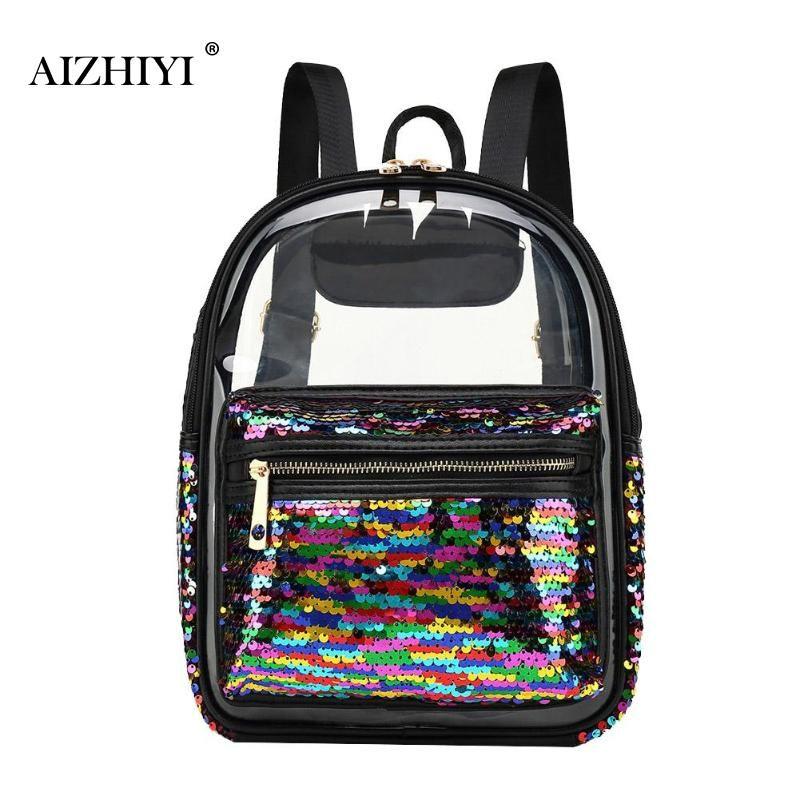 535ceeec4c Women Clear Sequin Backpack Girls Teenage Transparent Fashion Schoolbag  High Quality Summer Cute Shoulder Bags Casual Rucksack Osprey Backpacks  Book Bags ...