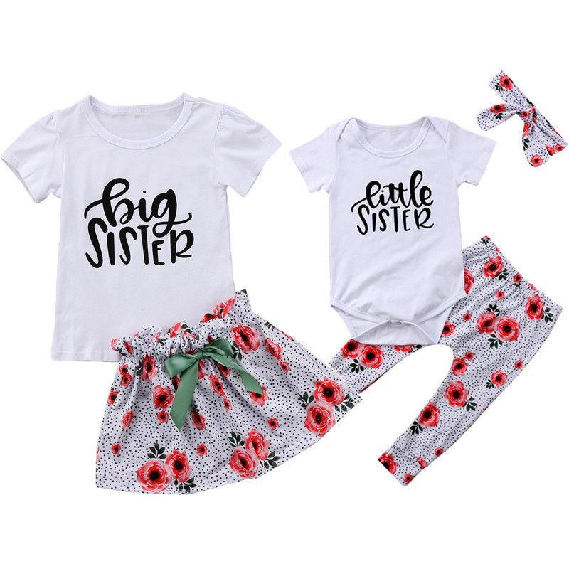 9d01f0850e9a Family Matching Costumes Match Sister's Clothing Set Baby Girl Little Sister  Romper+Pants And Big Sister Tops T Shirt+Skirt 2pcs