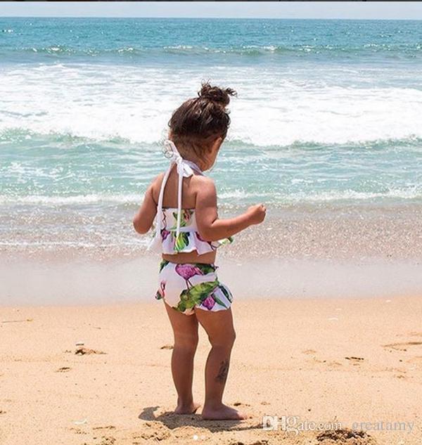 New brand newborn baby toddler infant child kids baby girls flamingo swimwear swimsuit bikini bathing suit costume 1-6T