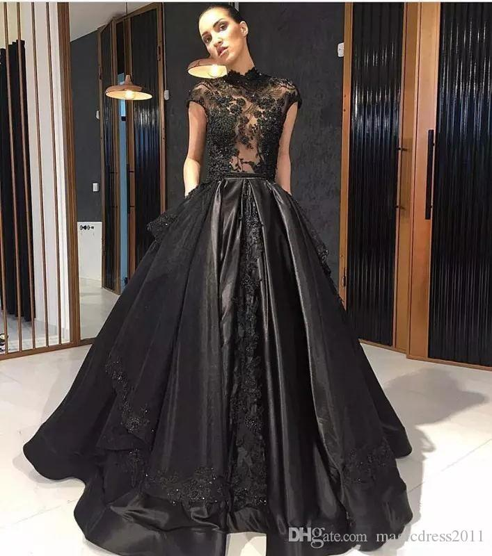 2019 Elie Saab Negro Encaje Formal Celebrity vestidos de noche de cuello alto ver a través de sobrefalda de tren Red Carpet Partido Prom Vestidos Vestidos