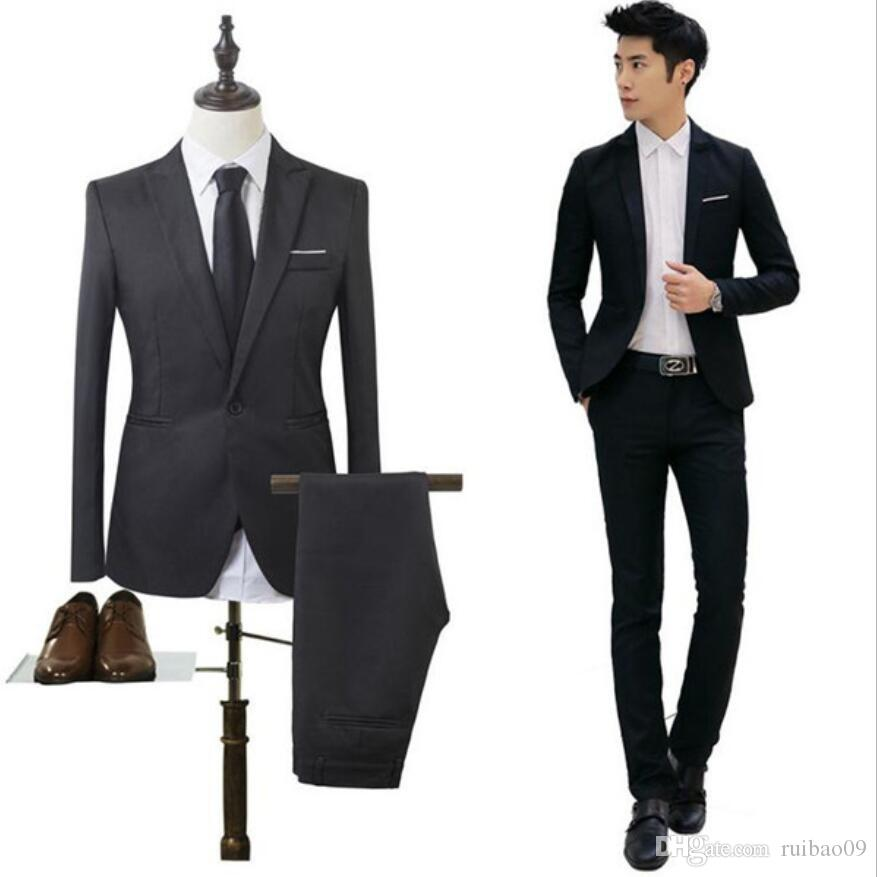 2019 Jacket + Pants Men S Slim Fit Business Three Piece Suits Male Groom  Party Dress Man Wedding Blazers Sets From Ruibao09 1e1d52decd80