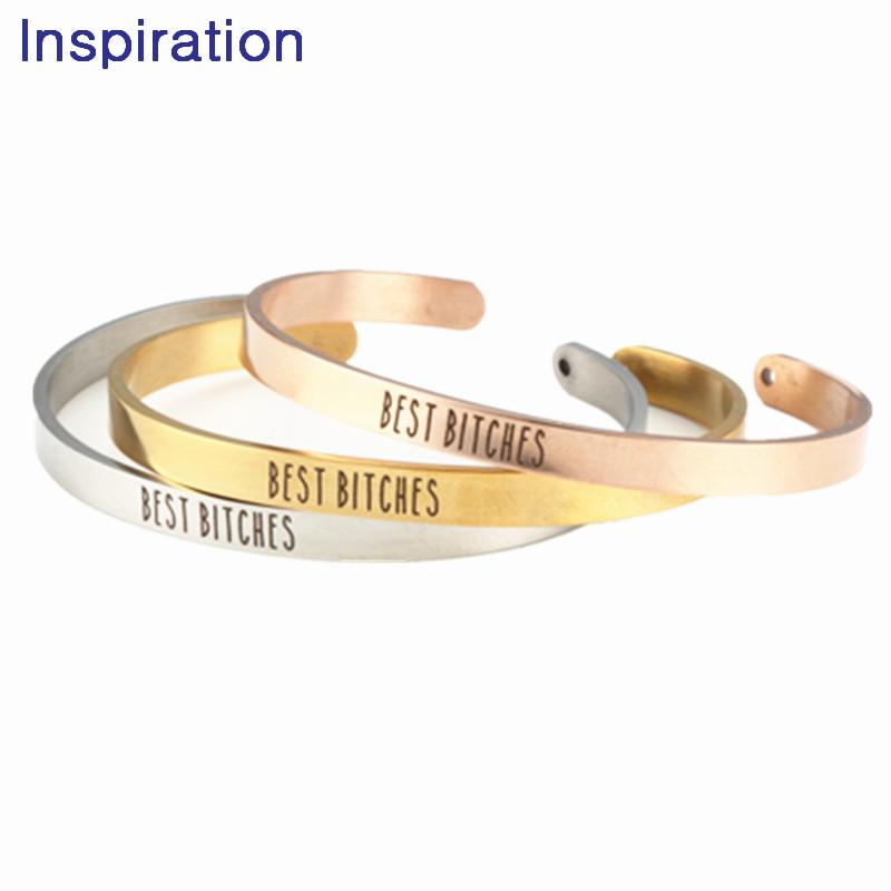 2018 Jewelry Stainless Steel BEST BITCHES Bangle Mantra Bracelet Anniversary Gift Girlfriends Birthday For Friend Bangles Design Gold