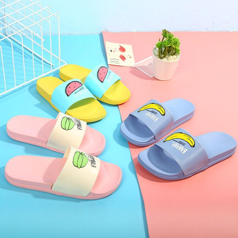 Slippers New Men Slippers Fashion Summer Lovely Ladies Casual Slip On Fruit Jelly Beach Flip Flops Slides Woman Skid Indoor Shoes