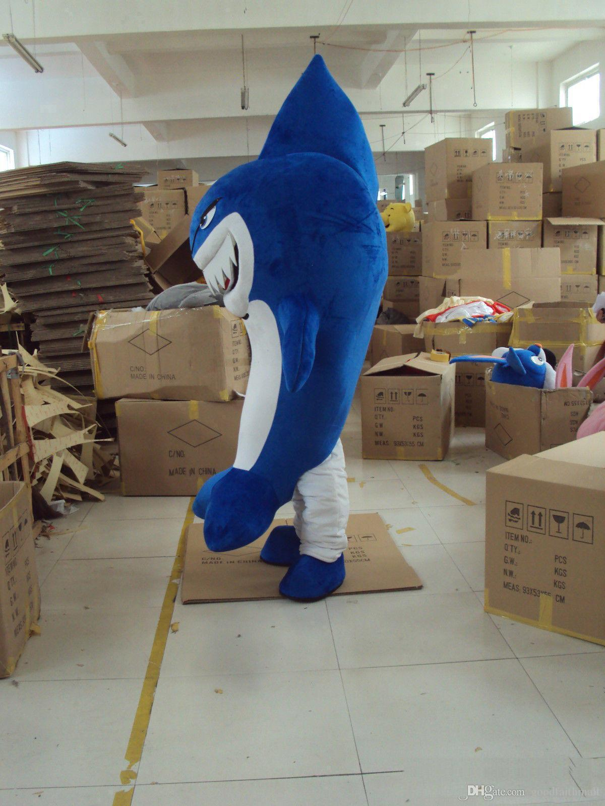 2018 High quality Shark Mascot Costume Fancy Dress Adult Suit Size