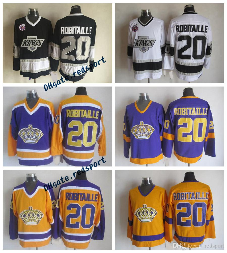 1993 Los Angeles Kings Luc Robitaille Hockey Jerseys Vintage CCM 20 Luc Robitaille Shirts Stitched 100th Stanley Cup Patch