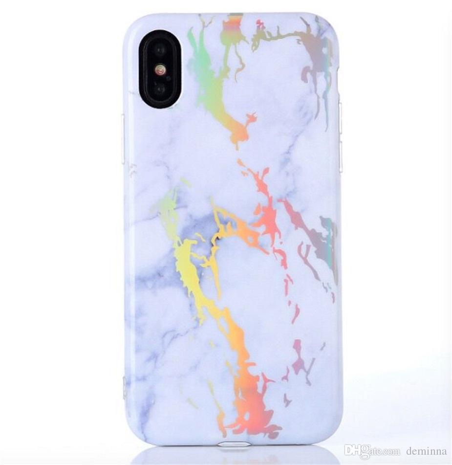 Coque souple en TPU Bling Laser Marble Design Coquille étincelante et souple Defender Cases pour iPhone X 8 7 6 6 S Plus Samsung S8 S9 Plus Note 8 S7 edge