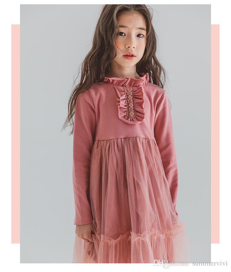 aa7d80fe1 2019 Big Girls Lace Princess Dress Autumn New Children Ruffle Collar ...
