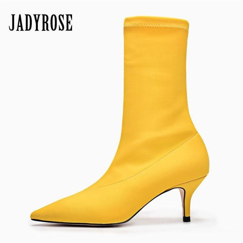 Jady Rose Yellow Women Sock Boots Stretch Fabric Pointed Toe High Heels  Slip On Ankle Boots Women Pumps Stiletto Botas Mujer Designer Shoes Rain  Boots For ... 6499c7298c92