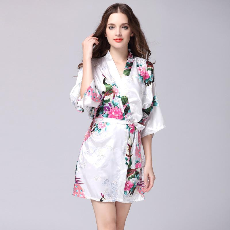 9e1f54cac2 2019 Sweet Young Women Silk Nightgown Flower Printed Fashion Knee Length  Girl Sleepwear Summer Ladies Sleepshirts Pink