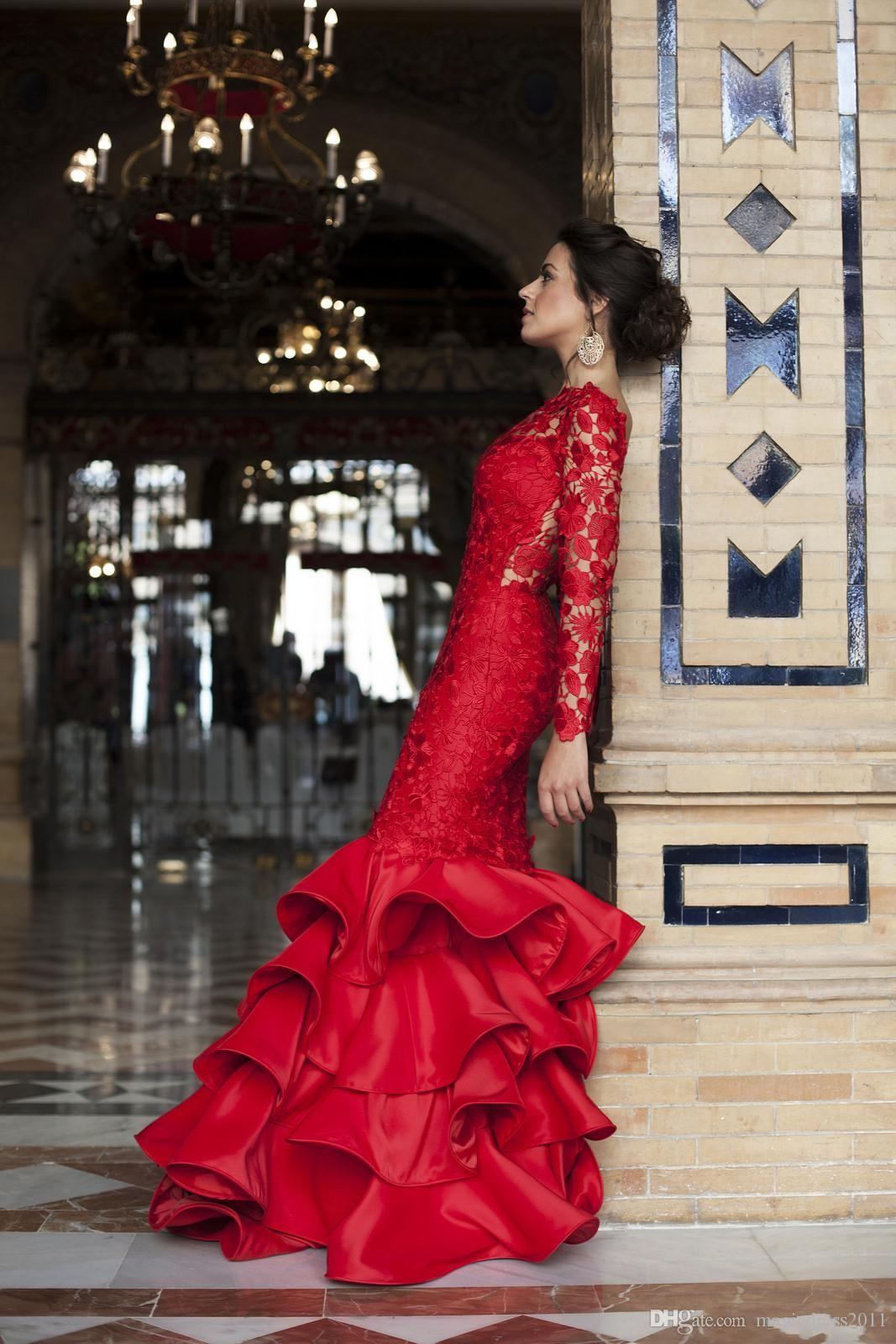 2019 Spring Red Mermaid Prom Dresses Lace Applique Sexy Backless Newest Tiered Bateau Sweep Train Evening Party Gowns Custom Made