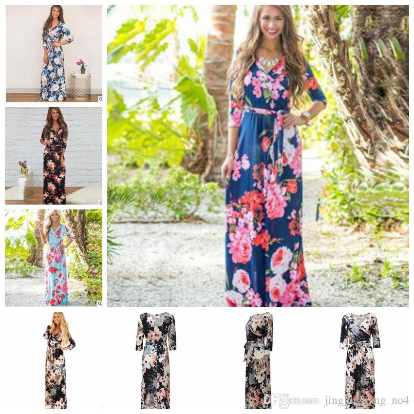 ac32aaf48 Compre 3 4 Vestido Largo De Manga Floral Con Estampado De Mujeres De Moda  Vestido Largo Casual Loose Boho Beach Maxi Vestido Elegante De Flores  KKA4799 A ...